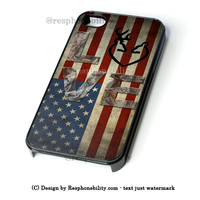 Deer Camo With Love Flag iPhone 4 4S 5 5S 5C 6 6 Plus , iPod 4 5  , Samsung Galaxy S3 S4 S5 Note 3 Note 4 , and HTC One X M7 M8 Case