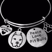 Peace Love Pit Bull Jewelry Best Friend Dog Paw Adjustable Bracelet Expandable Silver Charm Bangle One Size Fits All Gift Animal Lover Gift