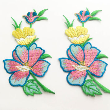 2 pcs  Pink, Soft Blue,Yellow, Gold  Flower Patch/Embroidered Flower Patch /Embroidered Iron on Patch / Flower Applique Size 5.9x11.8cm