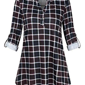 FANSIC Womens Fashion Split V Neck Long Sleve Casual Rollup 34 Sleeve Plaid Tunic Blouses Tops