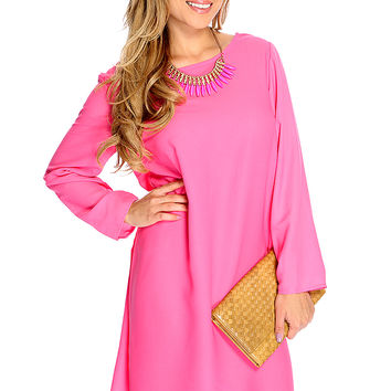 Casual Cute Fuchsia Long Sleeves Crochet Detail Party Dress