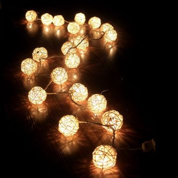 Storm Cream White Rattan Ball Fairy Lights - Ideal Wedding, Christmas & Party String Lights (1, gold)