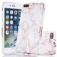 iPhone 7 Plus Case, Shiny Rose Gold White Marble Design, BAISRKE Clear Bumper Matte TPU Soft Rubber Silicone Cover Phone Case for Apple iPhone 7 Plus 5.5 inch
