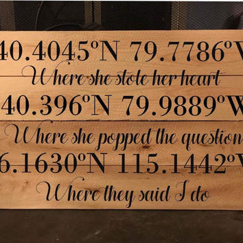 "Couples Coordinates Wooden Pallet Sign, 12x24"" Wooden Sign in Stain and Color of Your Choice"