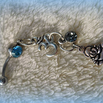 Buddha Belly Ring, Om Belly Ring, Yoga, Zen, Bohemian,  Boho, Ready to ship