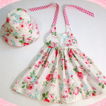 18 to 24 month rose floral dress spring dress summer outfit matching hat girls halter dress with sun hat boutique outfit girls sunhat