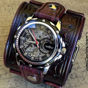 Steampunk Leather Cuff Watch, Men's watch, Leather Cuff, Bracelet Watch, Watch Cuff, Mens Gift, Mechanical