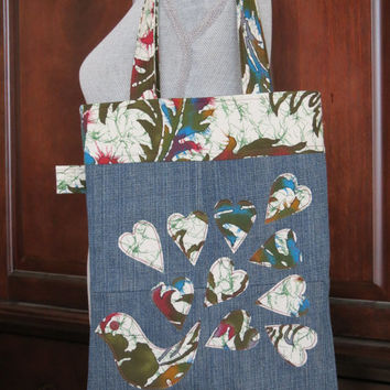 Recycled Denim and Peacock Heart Applique Tote Bag