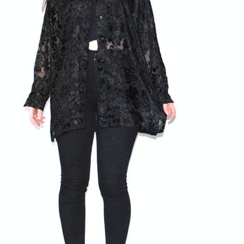 black burnout VELVET blouse 80s vintage NEW WAVE goth black sunflower velvet boho blouse os