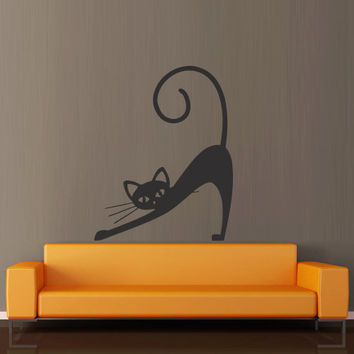 Wall decal decor decals art sticker cat animal dream funny cheerful cartoon tail mustache (m382)