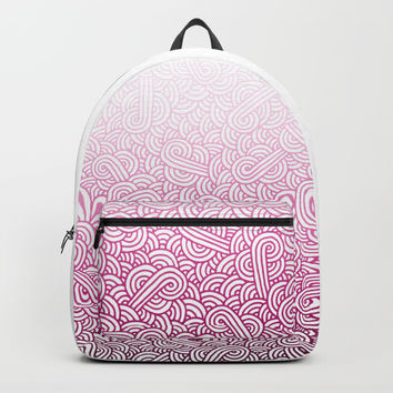 Gradient pink and white swirls doodles Backpack by Savousepate