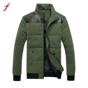 2017 Winter Men Fit Warm Patchwork PU Leather Zipper Cotton Coat Causal Male Thick Thermal Parkas Down Jacket Outwear Plus Size