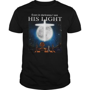 Snoopy Charlie Brown Event In Darkness I See His Light Shirt Guys Tee