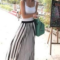 Trendy Black White Stripe Chiffon Maxi Skirt MS4115 from MooChiStyle