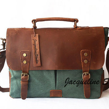 Genuine Cow Leather bag /canvas Briefcase / leather canavs bag/ satchel/Messenger bag / Laptop bag / Men's leather canvas Bag