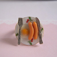 Breakfast, Sausage, Egg, Silver Knife And Fork Miniature Food Adjustable Ring