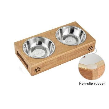 Limited Sales Cat Dog Pet Stainless Steel/Ceramic Feeding and Drinking Bowls Combination with Bamboo Frame for Dogs Cats