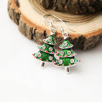 Christmas Tree Enamel Earrings, Christmas Gift Jewelry, Winter Earrings, New Year Jewelry