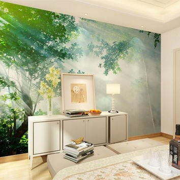 3d room wallpaper high-end custom mural non-woven wall sticker Tree forest light beam HD photo sofa TV background wall wallpaper