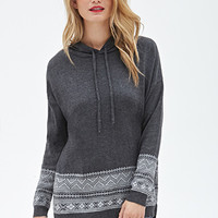 LOVE 21 Fair Isle-Paneled Hoodie Charcoal/Grey