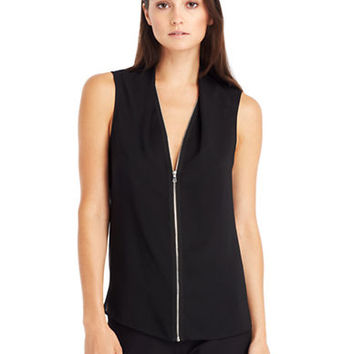 Kenneth Cole New York Floriane Zip Front Blouse