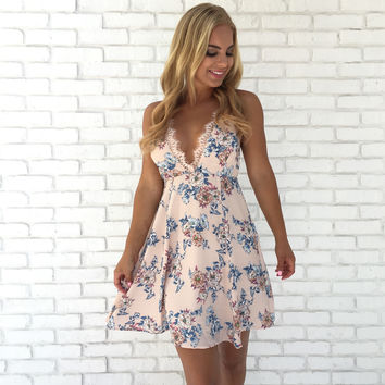 Floral Crush Lace Dress In Pink