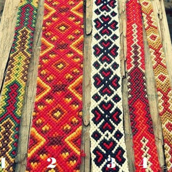 Aztec hippie friendship bracelet. Handwoven wristband. Wide. red. khaki. ivory. white. mustard. girlfriend boyfriend gift vegetarian hipster