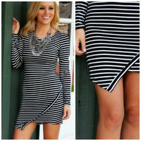 SZ SMALL On Edge Black Striped Bodycon Dress