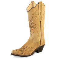 Old West Womens Vintage Cream Western Fashion Cowgirl Boots
