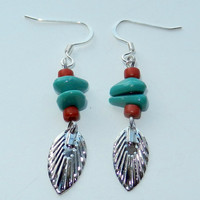 Dark Silver Leaves with Berry Red and Turquoise Beads Dangle Earrings
