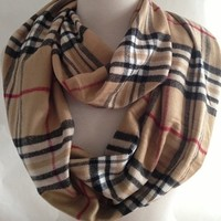 Scarves by Justbella's Cashmere Plaid Infinity Scarf