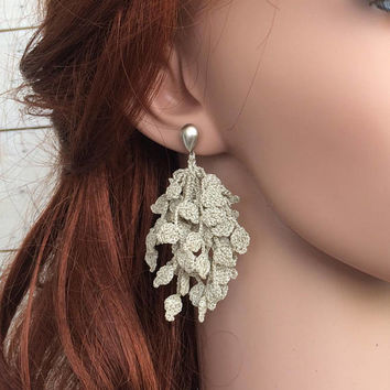 Botanical Earrings, Boho Nature Earrings, Leaf Studs, Crochet Earrings, Single Earring, Unique Earrings, Natural Jewelry, Bridal Earrings