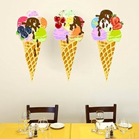 Ice Cream Wall Decal Full Color Mural Vinyl Sticker Colorful Kitchen Decor SD18