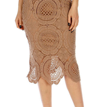 Lace Pencil Skirt in Sizes S-Xl in 4 Colors