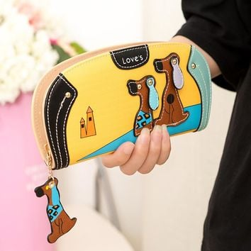 Cartoon dog women purse bag designer wallets famous brand women wallet long money clip dollar price zipper coin pockets