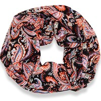 Peach Couture Women's Damask Print Infinity Loop Scarves (Black)