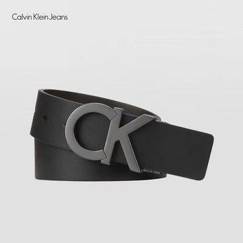 One-nice™ Calvin Klein CK Women Men Big Logo Smooth Buckle Belt Leather Belt I-MG-FSSH