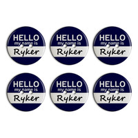 Ryker Hello My Name Is Plastic Resin Button Set of 6