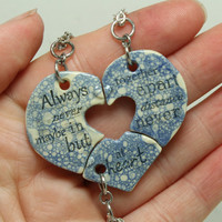 Friendship Heart pendants set of 3 pottery pieces blue bubbles  Always together quote