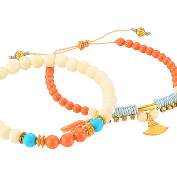Chan Luu Set Of 2 - Pull Tie and Stretchy Semi-Precious Stone Bracelets White Bone Mix - Zappos.com Free Shipping BOTH Ways