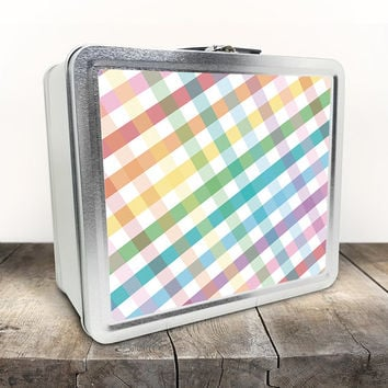 Rainbow Gingham Lunch Box - Pattern with a Rainbow mix and White - Tin School Lunch Art Craft Supplies Box