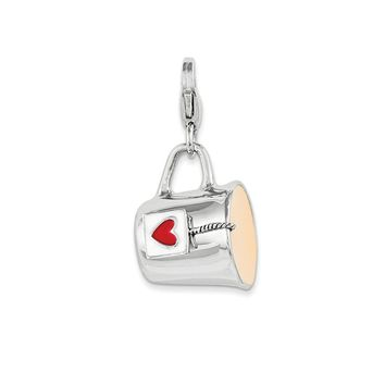 925 Sterling Silver Rhodium Enameled Mug with Lobster Clasp Charm