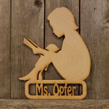 Librarian Teacher Personalized Name Plaque- laser cut wood sign