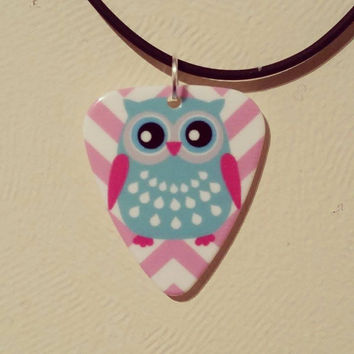 Chevron pink Owl Guitar Pick Necklace Jewelry! So pretty and cute! Gorgeous and Unique!