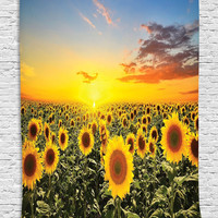Housewarming Gifts Tapestry Wall Hanging Nature Art Sunflower Garden Sunflowers Landscape Decor for Bedroom Living Room Home Decorations Fabric Room Dividers, Orange Blue Green Yellow