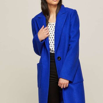 Blue Statment Midi Coat | Missselfridge