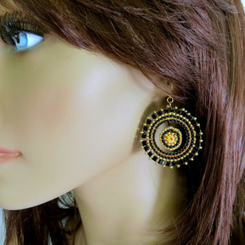 Black and Gold Hoops. Gold and Black Circle Seed Bead Earrings. Beadwork. Beadwoven Earrings. Statement Earrings.