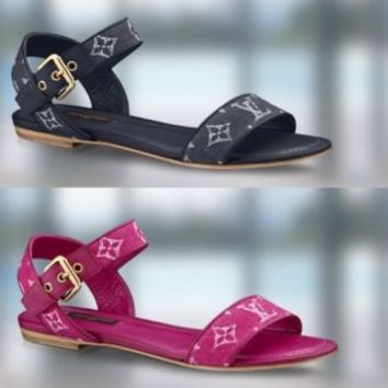 NIB New Louis Vuitton LV Logo Monogram Blue Leather & Denim Sandals Flats Shoes