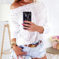 Explosive models solid color casual sweater sexy hollow sweater women