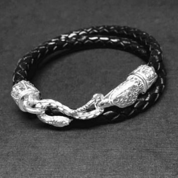 Eagle and the serpent 925  Sterling silver men's original design by Sal Knight ©
